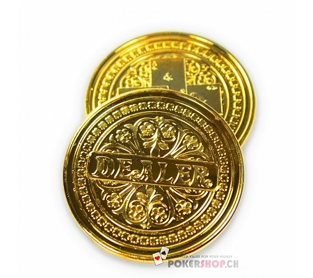 Metal Dealer Button Gold