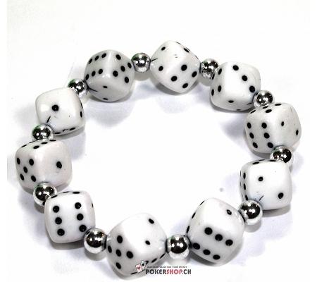 Würfelarmband Weiss