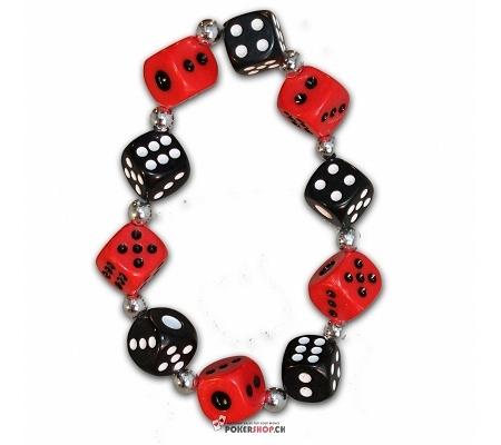 Würfelarmband Rot/Schwarz